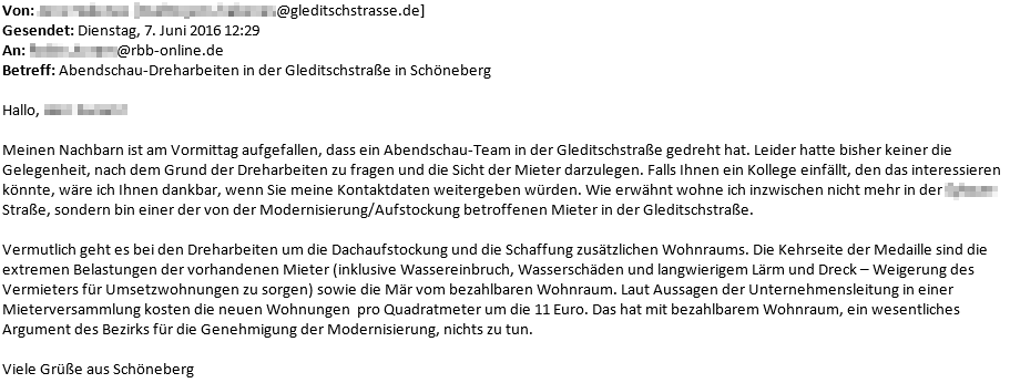 E-Mail an den RBB zur Kehrseite der Aufstockung